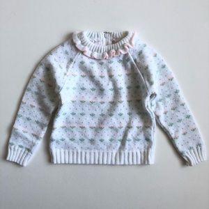 Vintage 80's girls floral knit sweater sz 24 month